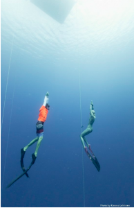Ashley Chapman returning from a 77 meter dive using the Skopio Fins with Pathos foot pockets.